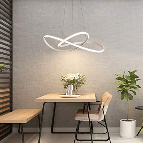 Lampara Colgante LED Lampara De Techo De Sala De Estar Simple Regulable Con Control Remoto Lampara Colgante De Metal Creativo Lampara De Mesa De Comedor De Cocina Altura Ajustable 40W