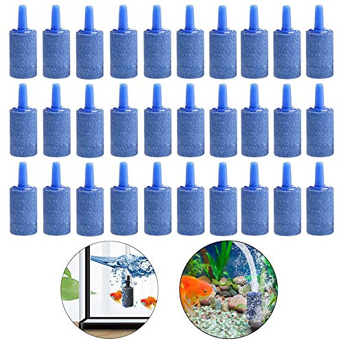 Hpamba Acuarios Piedras Difusor Piedra de la Burbuja del Acuario Acuarios Piedras Difusor Aire Aireador de Tanque de Peces de Piedra Air Piedra Difusor de Burbujas de Tanque Peces (30 Piezas, Azul)
