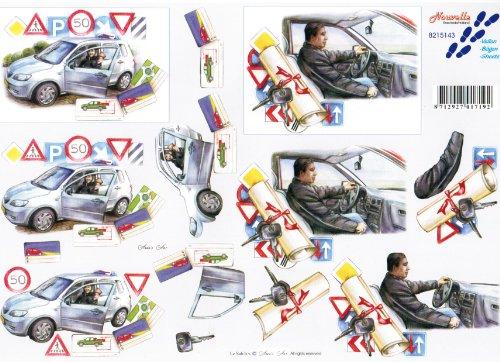 3D-Bogen zum Ausschneiden ca. DIN-A4 - Fahrschule, Führerscheinprüfung (8215.143)