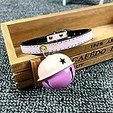 ZGD Pet Big Bell Collar, Haustierhalsband, Kleine Und Mittlere Katzen- Und Hundehalsbänder, Buntes PU-Leder-Traktionshalsband (mehrere Farben)