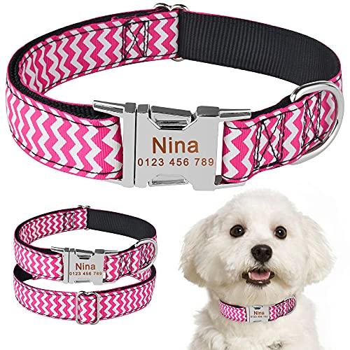 Collar de Perro Personalizado ID de Tela Etiqueta de Nombre Hebilla Perrito Grabado Personalizado SM L-M_32-50cm__