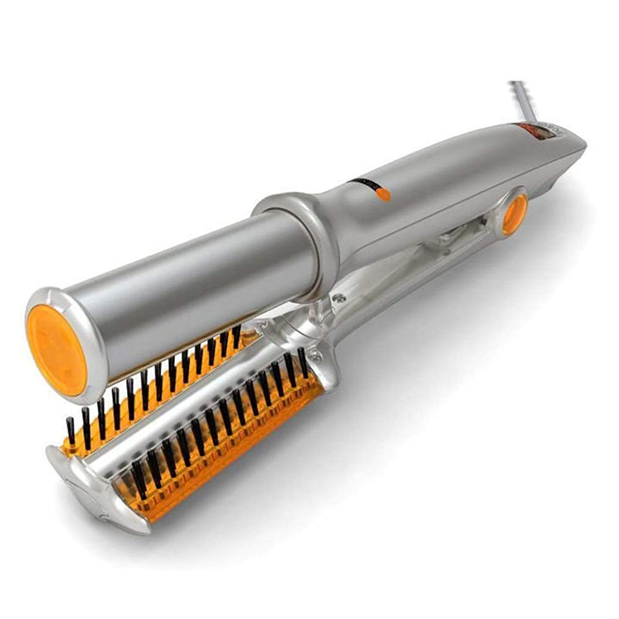 排除電話するシンボル2回転式アイロン、セラミックスコーティングヘアカーラーヘアストレートナー、温度制御付き濡れたままのヘアストレートカールトング