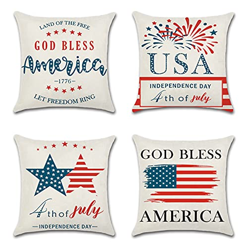Splonary 4th of July Pillow Covers 18x18, 4pcs American Flag Star Patriotic Pillow Covers, Independence Day Pillow Cover Decorations Throw Pillow Case Outdoor for Sofa, Couch, Bedroom Home Decor