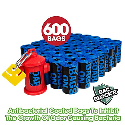Bags on Board Dog Poop Bags   Strong, Leak Proof Dog Waste Bags   9 x14 Inches, 600 Blue Bags