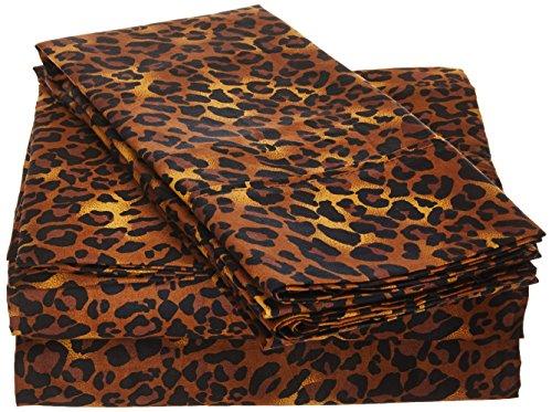 Sleep Well Bedding Animal Print Leopard 4pcs Sheet Set Queen Size 100% Egyptian Cotton Pocket deep -18' Inch