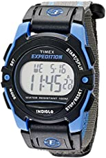 Timex Unisex T49660 Expedition Mid-Size Digital CAT Gray/Blue Stripe Fast Wrap Strap Watch
