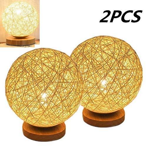 Lampada chiara creativa LED Night con paralume Tessuti a mano in legno Camera decorativo Lampada da comodino