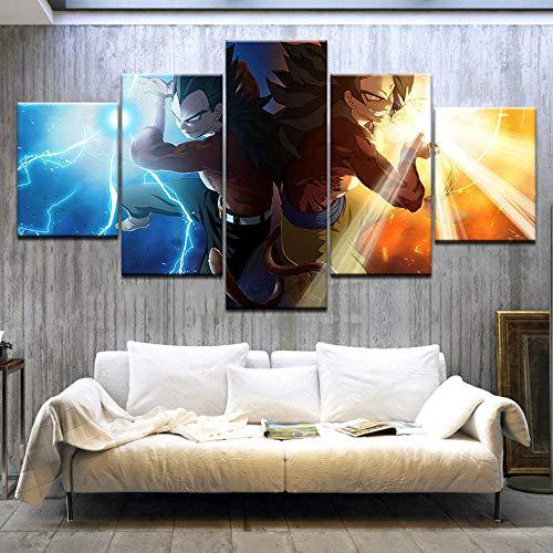 YOPLLL Bilder 150X80 cm Vlies Leinwandbild 5 TLG Kunstdruck Modern Wandbilder XXL Wanddekoration Design Wand Bild Dragon Ball Gt Cartoon