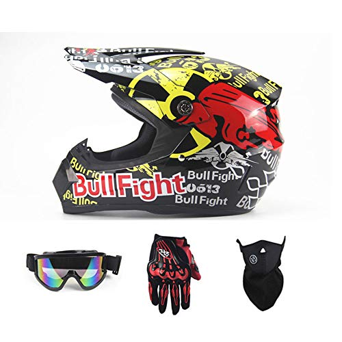 CDFC Adult Motocross Helm Mx Motocross Scooter ATV Helm D.O.T AM Mountainbike Volledige Gezichtshelm met Brillen/Wind Mask/Handschoenen