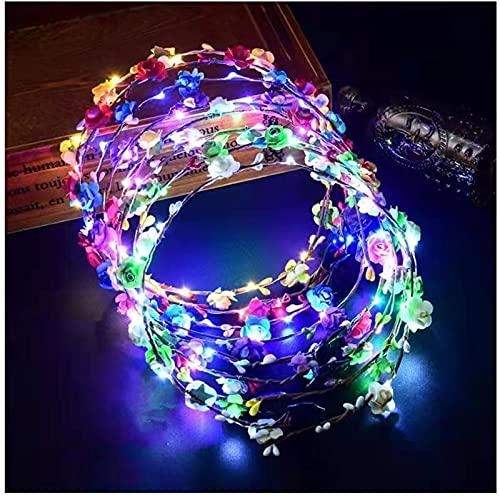 Diadema de flores LED, 20 unidades, guirnalda de cabeza iluminada para mujeres y niñas, accesorios tocado de cumpleaños, boda, festival, fiesta, flores, vacaciones, Navidad, Halloween, decoración