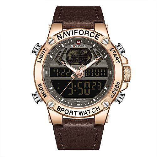 NAVIFORCE Lederband Quarz Elektronische Armbanduhr Professionelle 3ATM Wasserdicht GMT Zeit Multifunktionale Leuchtdoppelwerke Chronograph Herrenuhr NF9164 Roségold