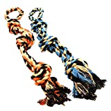 BK PRODUCTS LLC Dog Toys for Aggressive Chewers - Set of 2 Heavy Duty XL Dog Rope Toy for Large Breed Puppy - Medium and Large Dogs for Chewing, Teething, Tug of War