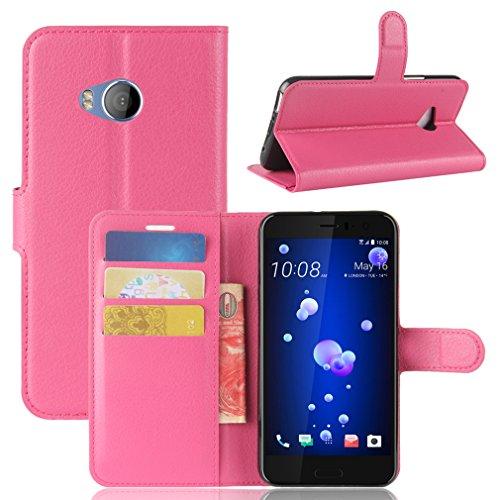 LMAZWUFULM Hülle für HTC U11 Life PU Leder Magnetverschluss Brieftasche Lederhülle Litschi Muster Standfunktion Ledertasche Flip Cover für HTC U11 Life Rose Rot