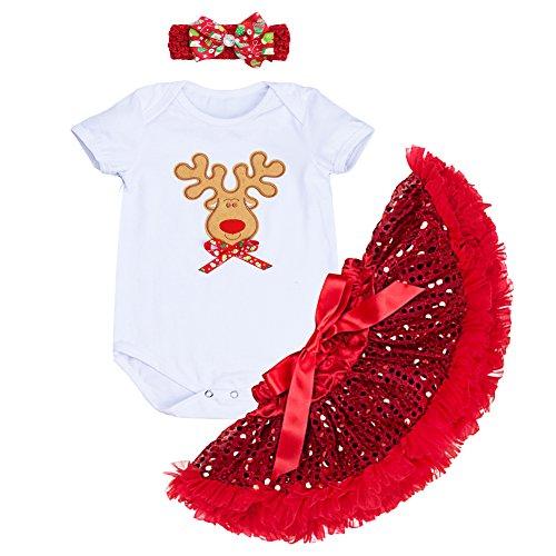 OBEEII Baby-Mädchen-Outfit, Weihnachtsmann, Elch, Schneeflocke, Kleid und Haarband, 3-teiliges Set Gr. Small, Weiß + Rot 5.