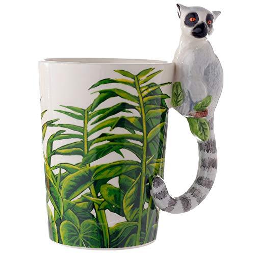 EliteKoopers 1 taza de cerámica con mango en forma de lémur para regalo en casa.