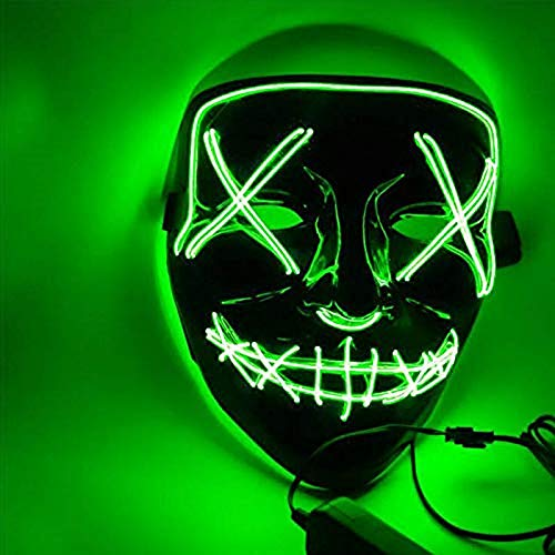 Sinwind LED Purge Maske, LED Mask mit 3 Blitzmodi für Party Halloween Fasching Karneval Kostüm Cosplay Dekoration (grün)