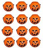 Wiwaplex Pumpkin Candy Bucket, 12 Pack Plastic Pumpkin Candy Holder, Halloween Mini Pumpkins Trick or Treat Bags Baskets, Plastic Pumpkin Pail, Pumpkin Basket with Handle, Orange Pumpkin Face Decor
