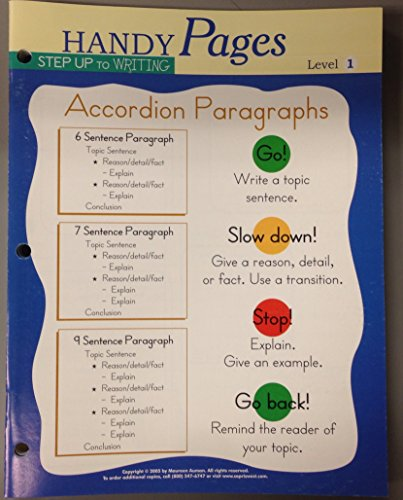 Handy Pages Step Up to Writring: Accordion Paragraphs, Level 1 Pack of 10