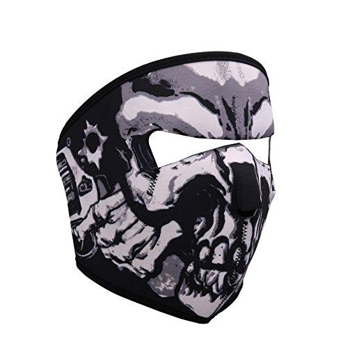 Sijueam Gesichtsmaske, für Nacken Nase Ohr Mund, Affengesicht, windfest, Sturmhaube, warm, schützt vor Staub / Kälte, Skelett Halloween Mütze, für Erwachsene Mountainbiker Biker Ski Fahrrad MTB Moto Cross Scooter, Crâne