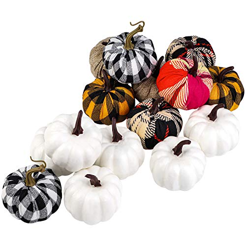 Elcoho 16 Pieces Small Fabric Lifelike Pumpkins Mini Artificial Pumpkins Home Decoration Set Fall Harvest Pumpkin Thanksgiving Halloween Seasonal Decor