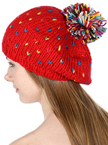 SERENITA Women Knit Beret Beanie Hat with Pompom Cute Soft Slouchy Ribbed Handmade Warm Winter Cap