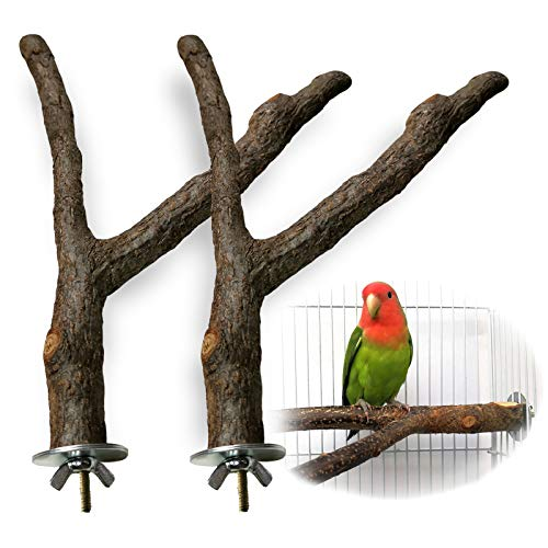 HEEKAME 2 Pack Bird Perch Natural Wood Fork Stand Perch,Pet Bird Cage Hammock Swing Toy,Wooden Hanging Perch with Stainless Steel Washers (0.6-1inch)