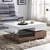 <span class='highlight'><span class='highlight'>GOLDFAN</span></span> High Gloss Rectangular Glass Swivel Coffee Table with Storage for Living Room Office Furniture, Walnut & White