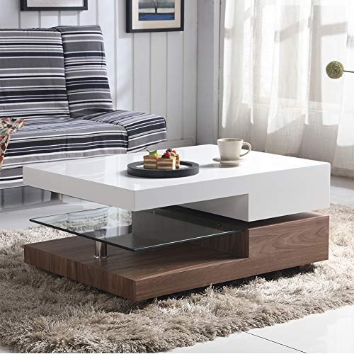 GOLDFAN High Gloss Rectangular Glass Swivel Coffee Table with Storage for Living Room Office Furniture, Walnut & White