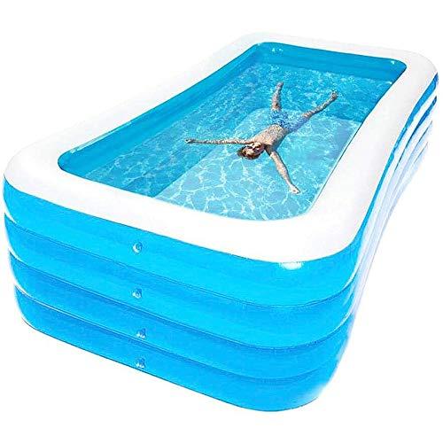 MUPAI Family Pool Deluxe, Pool rechteckig für Kinder, leicht aufbaubar, blau, 180x150x72 cm (Blau)