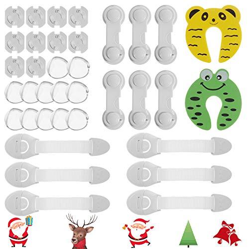 Rovtop36PCS Kindersicherheitskit Silikon Antikollisionswinkel 12 Stk, 6 Schubladenschlösser, 6 verstellbare Schubladenschlösser, 2 Türklammern, 10 Schutzhüllen mit Standardsteckdose
