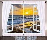 ABAKUHAUS Costero Cortinas, Abrir Ventana del Sol del mar, Sala de Estar Dormitorio Cortinas Ventana Set de Dos Paños, 280 x 260 cm, Multicolor