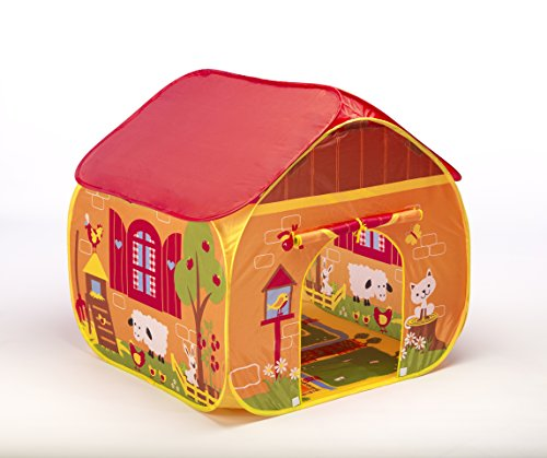 Childrens Pop Up Play Tent Designed like a FarmYard with a Unique Printed Play Floor : Boys / Girls Toy Play Tent / Playhouse / Den / Great Tractor Toy