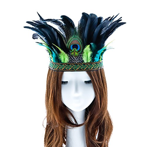 Aukmla Peacock Feather Fascinator Decorative Feather Headpiece Crown Headdress Costume Headband for Party (Green)