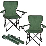 FiNeWaY Set of 2 Folding Camping Arm Chair With Drink Cup Holder