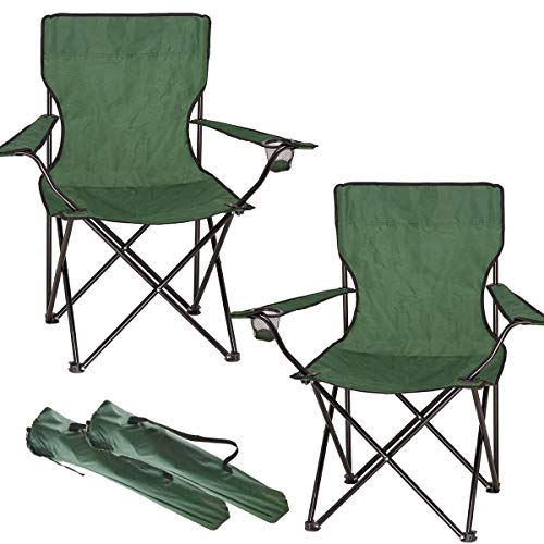 FiNeWaY Set of 2 Folding Camping Arm Chair With Drink Cup Holder & Carry Bag – Perfect For Fishing Picnic Garden Festivals Park Outdoor Foldable Comfortable Beach Seat