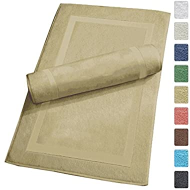 SALBAKOS Luxury Hotel and Spa 100% Turkish Cotton Banded Panel Bath Mat Set 900gsm! 20 x34  (Taupe, 2 Pack)