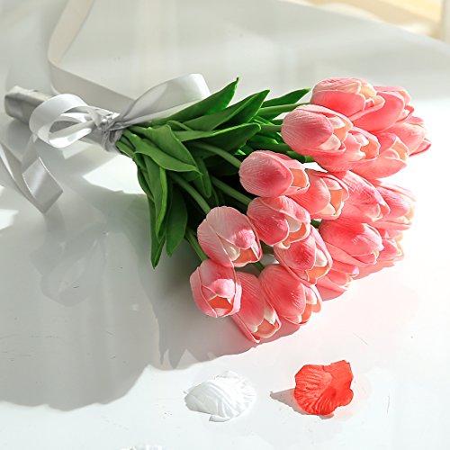 JUSTOYOU 20 STK PU Real Touch Latex Künstliche Tulpen Gefälschte Tulpen Blumen Blumensträuße Blumen Arrangement für Home Room Hochzeitsstrauß Party Herzstück Dekor Rosa - 6
