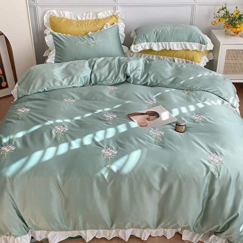 Juego de Funda de edredón tamaño King,Verano agua lavado seda de cuatro piezas princesa seda zapatilla cómoda seda estudiante dormitorio doleado bolso sábanas niña ropa de cama regalo-mi_1,8 m de cam
