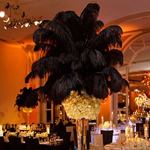 """12-14"""" (30~35cm) Real Natural Ostrich Feathers Great Decorations Black (100pcs)"""