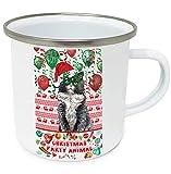 teesquare1st Christmas Cat 1 10oz Tazza da Caffe Natalizia/Tazza di Natale