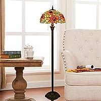 林サンフラワーブロンズフロアランプユニークなガラスモザイクランプシェードリビングルームダイニングルームベッドルームの装飾ランプ(EUプラグ) HDJ (Color : UK Plug)