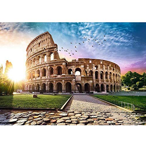TEARICE Diamond Painting Bilder,DIY 5D Würfel Diamant Mosaik Runde Diamant Malerei Rom Colosseum Stickerei Kreuzstich Europäischen Stil Schloss Gebäude 11.8x15.7 Inch