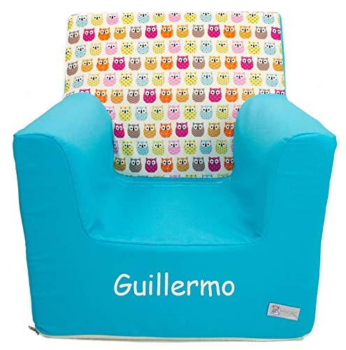 Montessoris Kindersessel oder Kindersitz aus Schaumgummi Gemacht PERSONALIZIERTE mit den NAME oder Ausdruck Verfügbar in mehrere Modellen und Farbene. (Uhus Türkis)