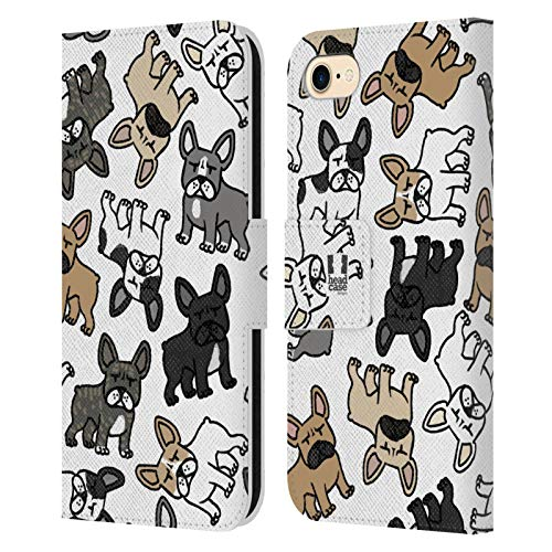Head Case Designs French Bulldog Dog Breed Patterns Leather Book Wallet Case Cover Compatible with Apple iPhone 7 / iPhone 8 / iPhone SE 2020