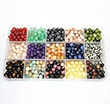 750pcs Natural Stone Beads Polished Beading 6mm Loose Beads Gemstone Crystal Energy Stone Healing Power for Jewelry Making (15 Materials A)