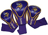 Team Golf NFL Minnesota Vikings Contour Golf Club Headcovers (3 Count), Numbered 1, 3, & X, Fits Oversized Drivers, Utility, Rescue & Fairway Clubs, Velour lined for Extra Club Protection (31694)