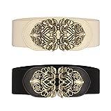 Cinturón ancho elástico para mujer 2 piezas retro de las señoras de cintura elástica cinturón (Negro & Beige)