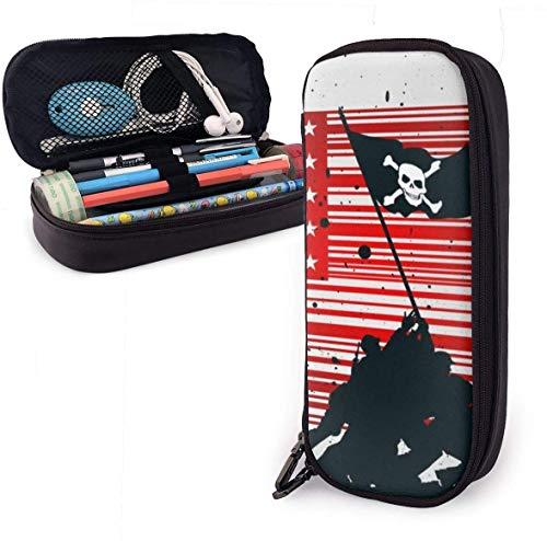 Spezielle rote Barcode niedlichen Stift Federmäppchen Leder 8 x 3,5 x 1,5 Zoll Tasche Federmäppchen mit doppeltem Reißverschluss Halter Box für Schulbüro Mädchen Jungen Erwachsene