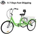 US Fast Shipment Adult Tricycles 7 Speed, Adult 24 Inch Mountain Trikes, 3 Wheel Bikes Bicycles Cruise Trike with Rear Shopping Basket for Seniors, Women, Men (Green)