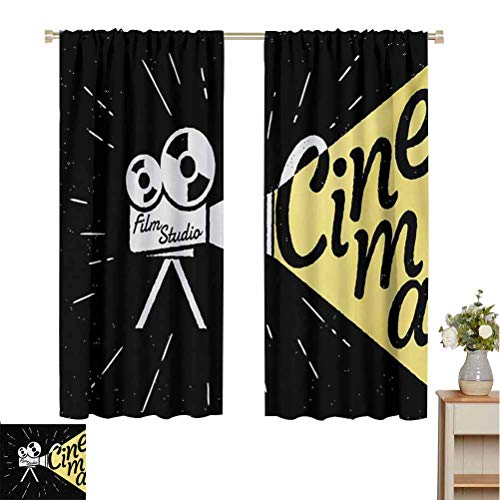 Flyerer Movie Theater Best Home Fashion Thermal Insulated Blackout Curtains Movie Projector Sketch with Grunge Cinema Lettering on Black Backdrop Spatial Level W55 xL72 Yellow Black White